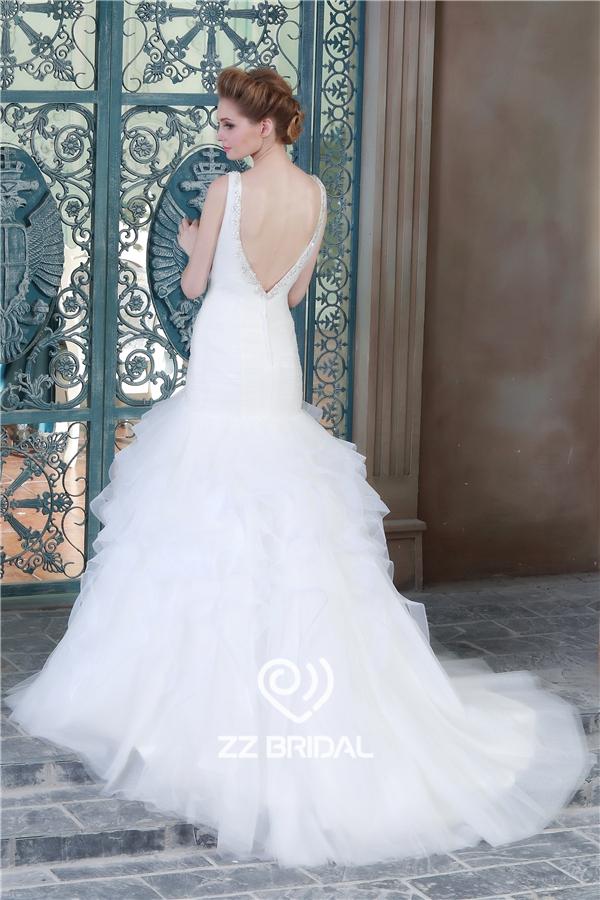 V-Rücken-Brautkleid, Hochzeitskleid Suzhou, Organza Brautkleid