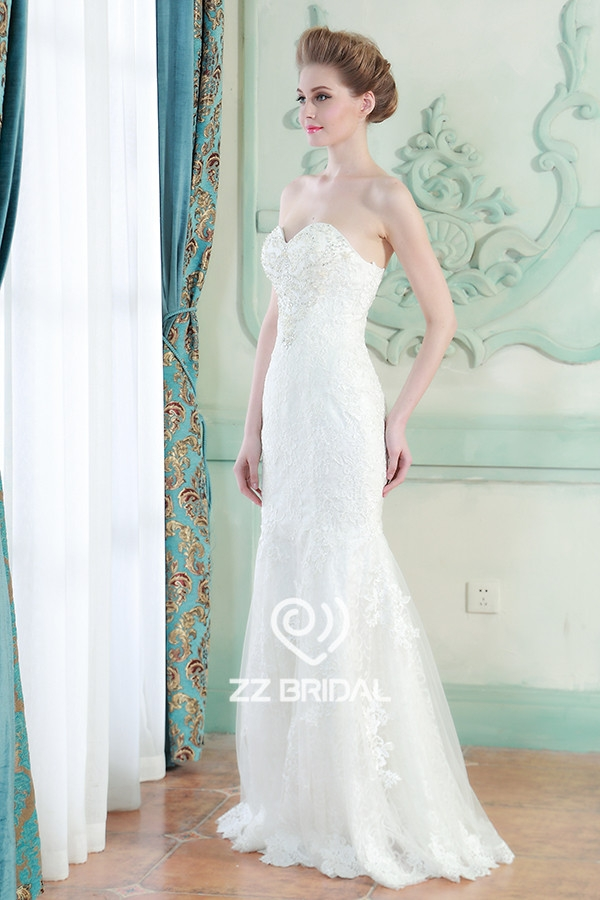 mermaid wedding gown, lace appliqued wedding gown, beaded wedding gown