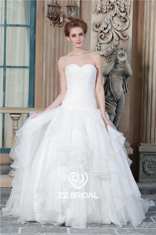 volantes vestido de novia, vestido de novia de escote de vestido