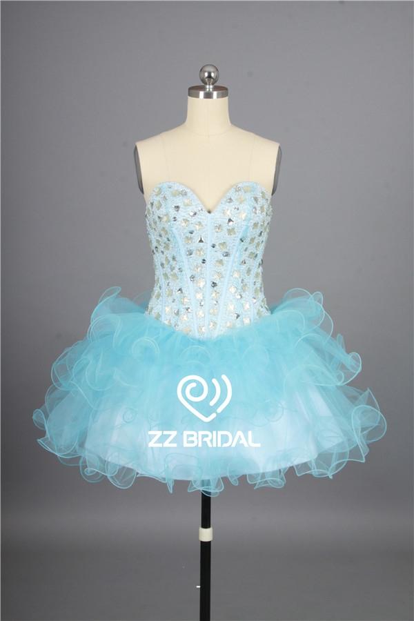 short evening gown, light blue evening gown, cute girl dress