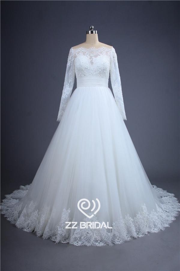Hochzeit Spitzenkleid, Langarm Brautkleid, durchschauen zurück ...