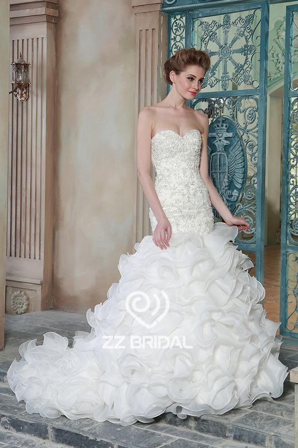 beaded wedding dress, organza wedding dress, mermaid wedding dress