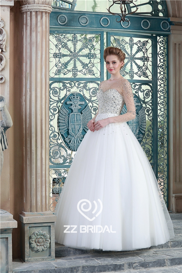 long sleeve bridal dress, beaded bridal dress, scoop neckline bridal ...