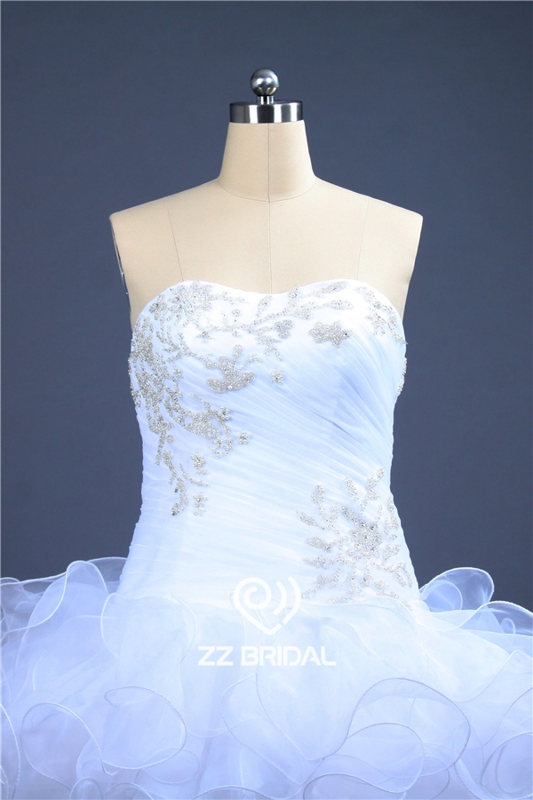 Ball gown wedding dress beaded wedding dress ruffled for Organza layered wedding dress