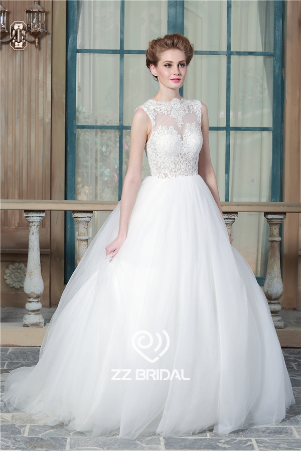 princess bridal gown, sleeveless bridal gown, illusion bridal gown