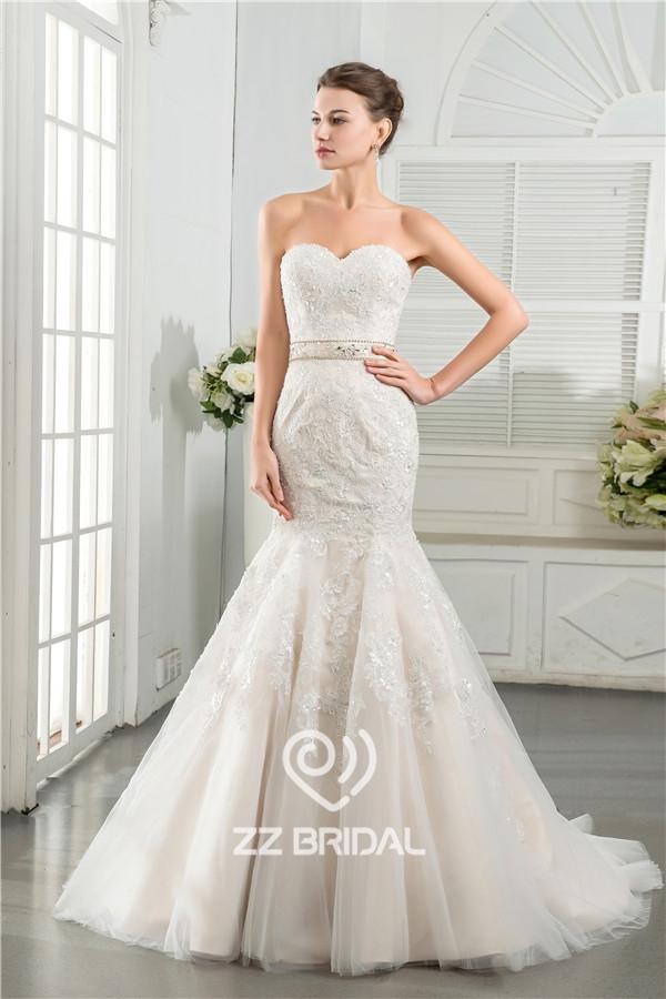 Реальные изображения Китай возлюбленной декольте русалка стиль бисером кружево аппликация свадебное платье