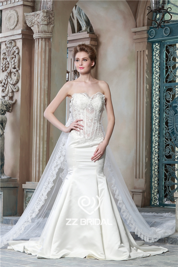 Satin Mermaid Wedding Dress See Through Wedding Dress