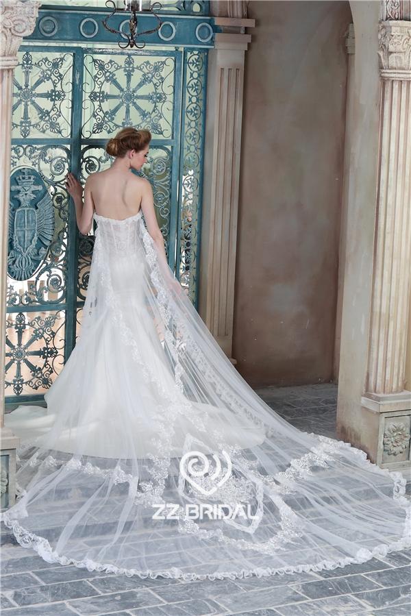 Satin Mermaid Wedding Dress See Through Wedding Dress Wedding Dress With Lo