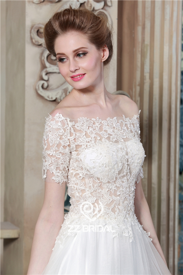 a-line bridal dress, short sleeve bridal dress, lace appliqued ...