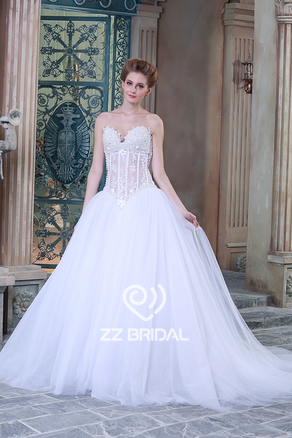 beaded wedding dress, see through wedding dress, ball gown wedding dress