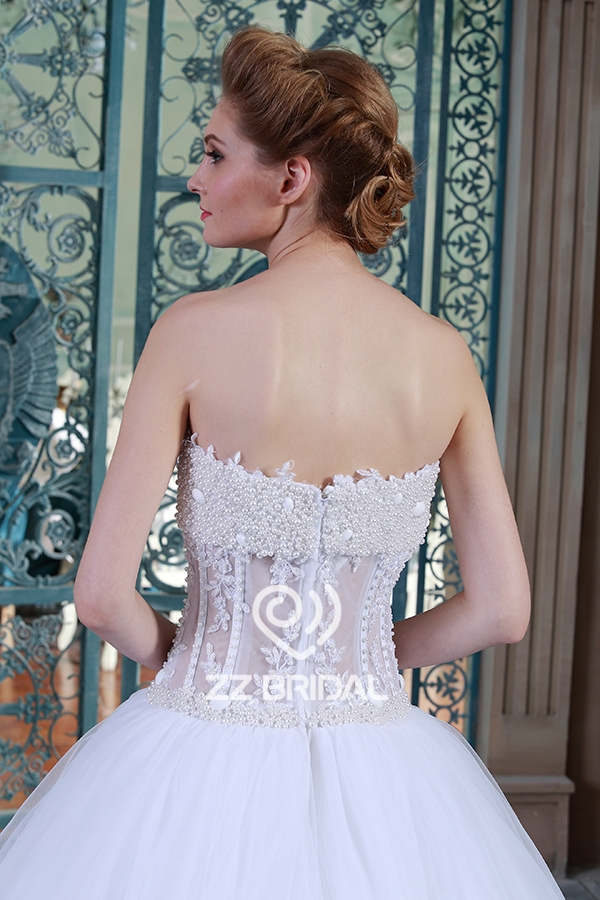 Sweetheart Neckline See Through Beaded Handmade Pearls Princess Ball Gown Wedding Dress Made In China